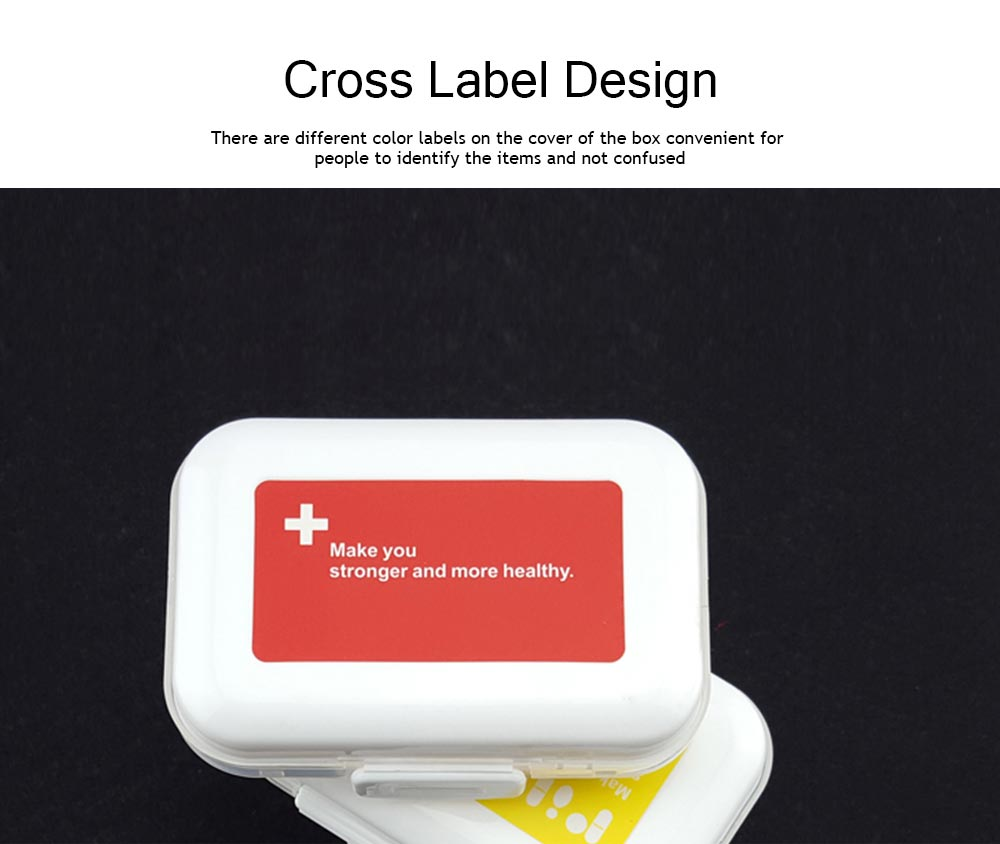 Dustproof Medicines Storage Boxes with Cross Labels, Portable 8 Grids Weekly Tablets Pill Case 5