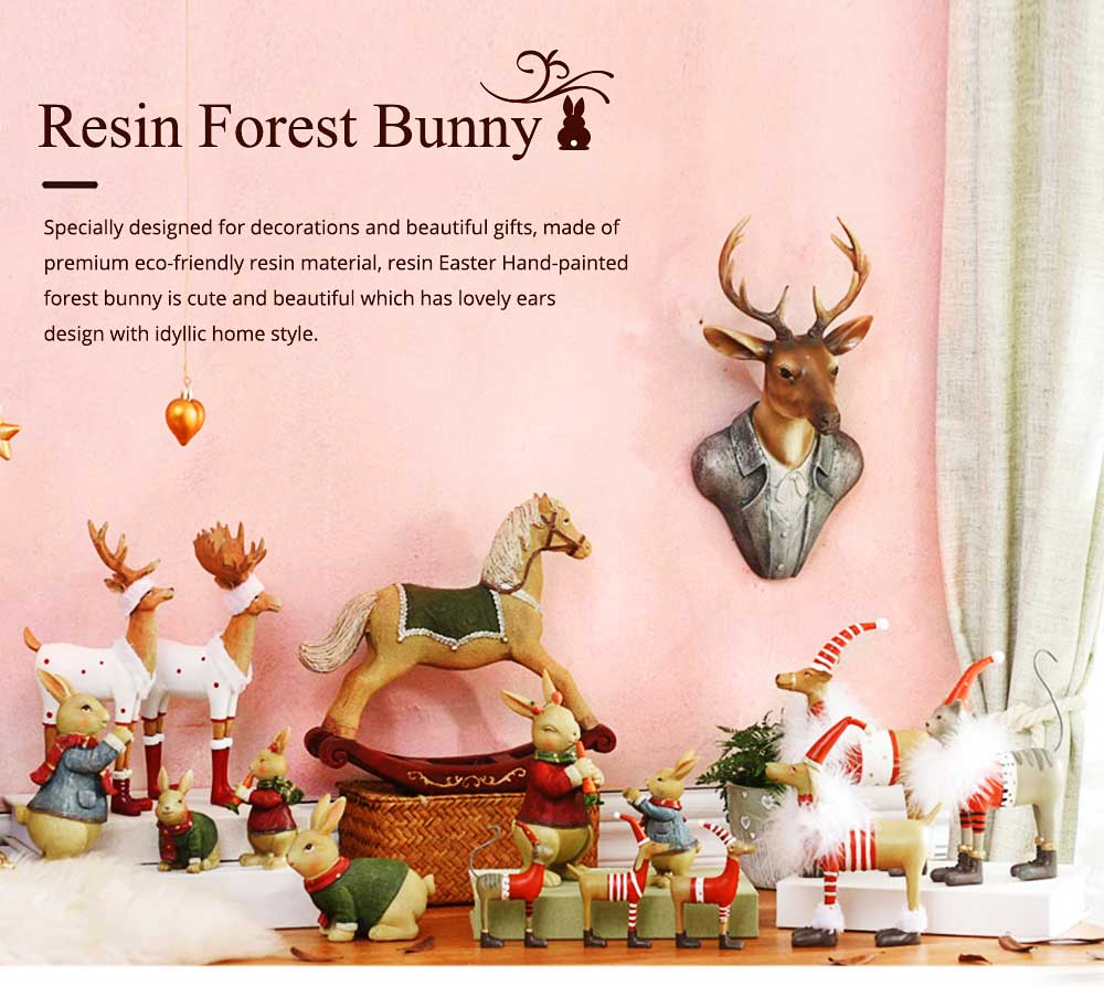 Resin Easter Hand-Painted Forest Bunny with Idyllic Home Style for Wine Ark & Windowsill, Decorative Centerpiece 0