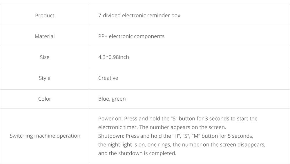 Electronic Pill Box Timer Reminder, Night Lighting Reminder 7-divided Pill Case Kit 18