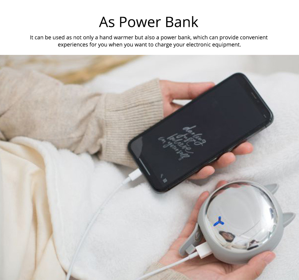 Creative Power Bank Warming Treasure, Portable Multifunctional Power Bank with Animal Model and Mirror Surface 3