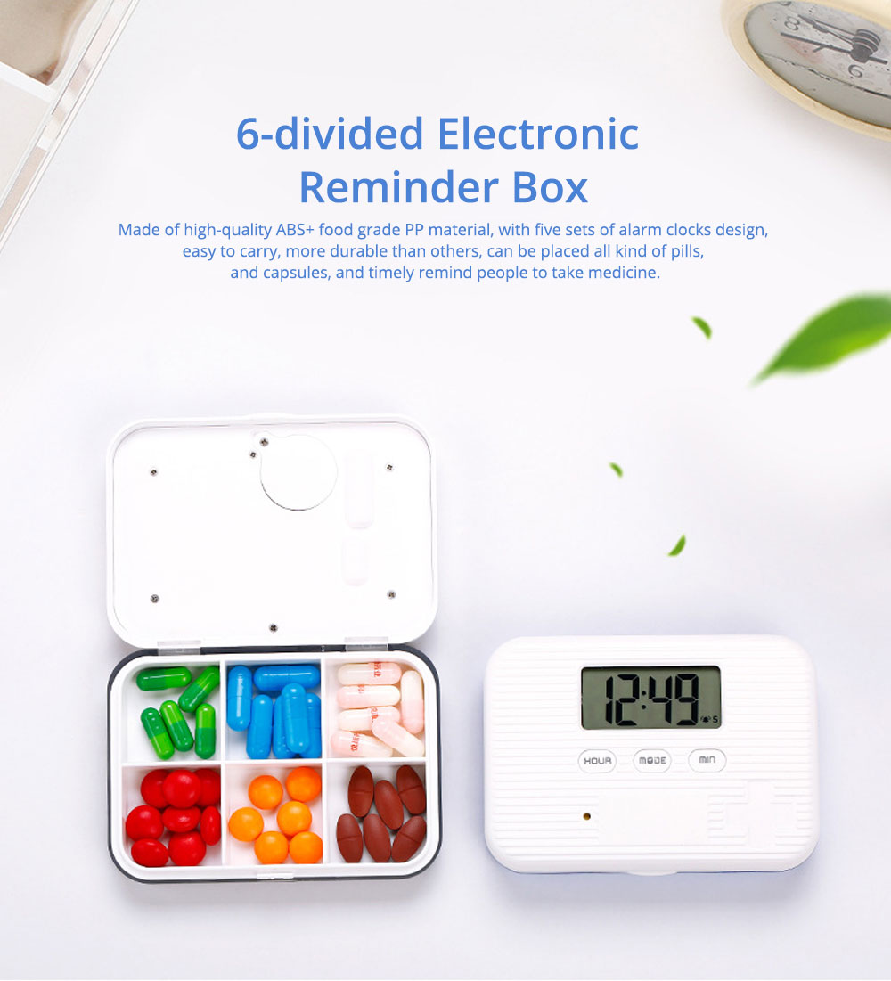 Electronic Pill Box Dispenser, 6-divided Electronic Reminder Pill Organizer 0