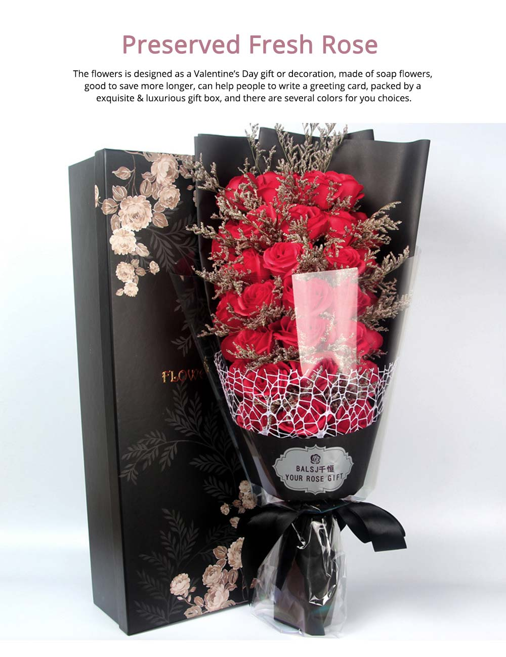 Preserved Fresh Rose with Dry Flower for Valentine's Day, Romantic Rose with Luxurious Gift Box for Girlfriend 0
