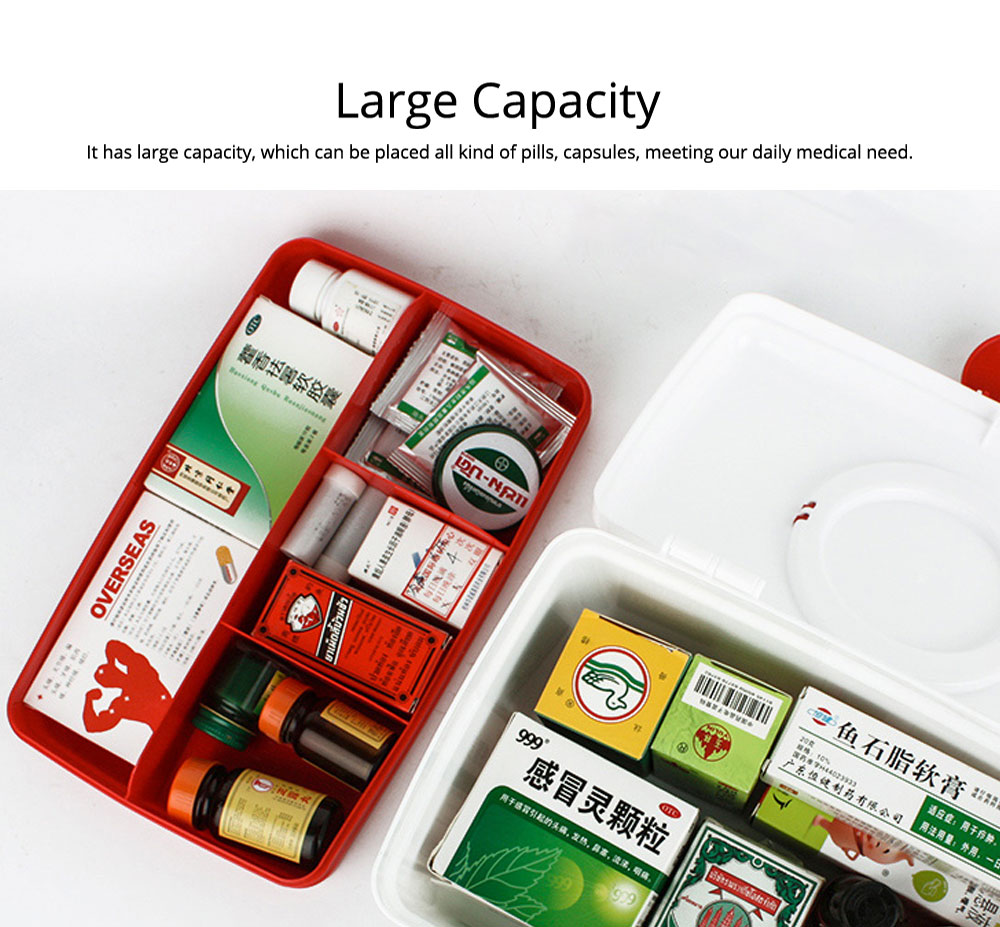 Empty First Aid Kit, Portable Medicine Storage Box, Plastic Double-layer Emergency Medicine Kit 5