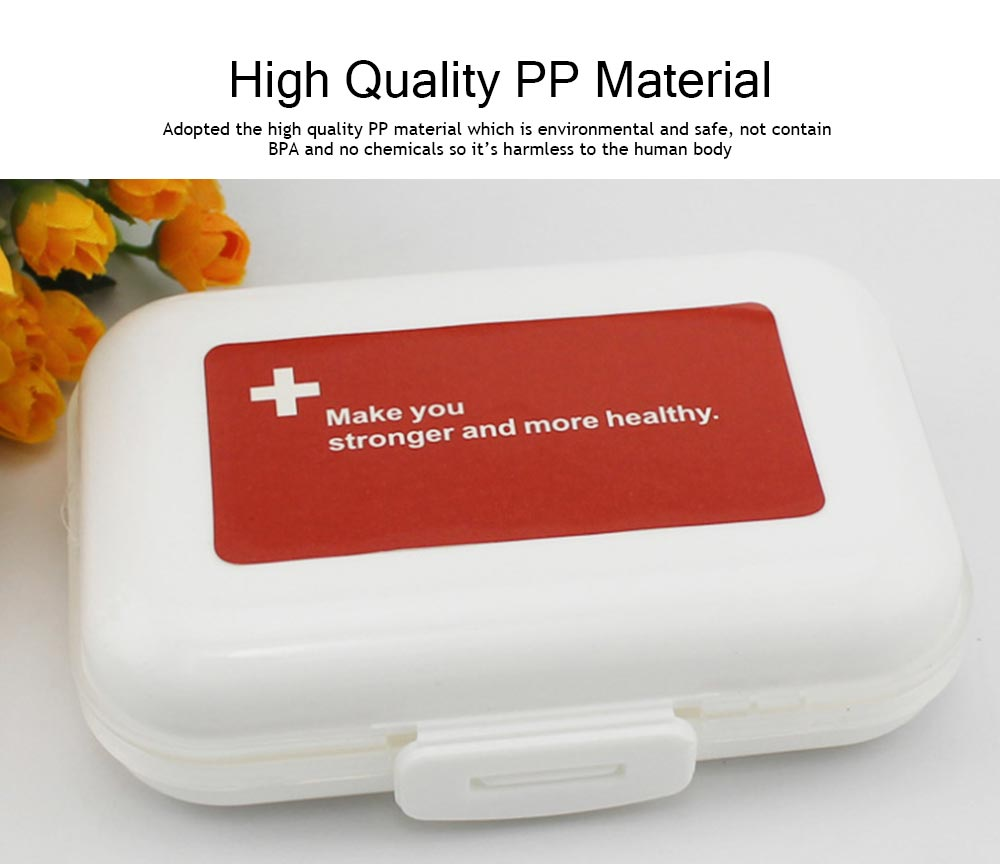 Dustproof Medicines Storage Boxes with Cross Labels, Portable 8 Grids Weekly Tablets Pill Case 1