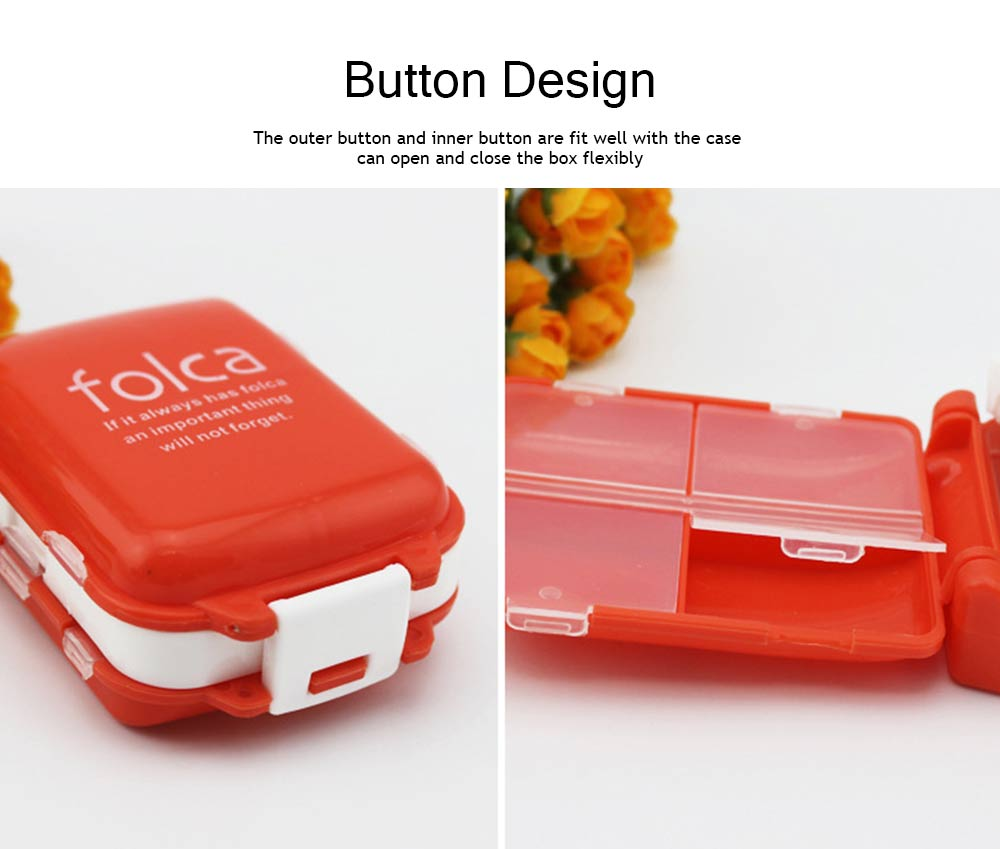 Foldable Folca Pill Box, 8-Grids Travel Tablet Pill Case, Dustproof Capsule Pill Storage Box 4