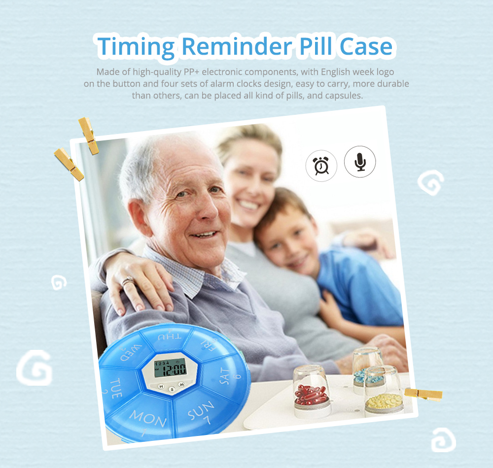 Electronic Pill Box Timer Reminder, Night Lighting Reminder 7-divided Pill Case Kit 9