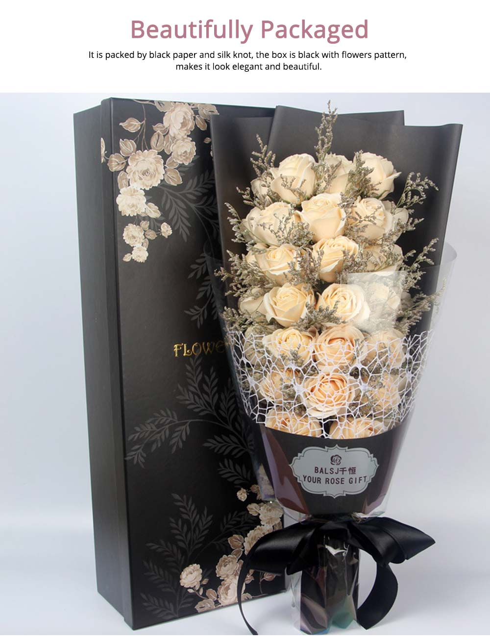 Preserved Fresh Rose with Dry Flower for Valentine's Day, Romantic Rose with Luxurious Gift Box for Girlfriend 5