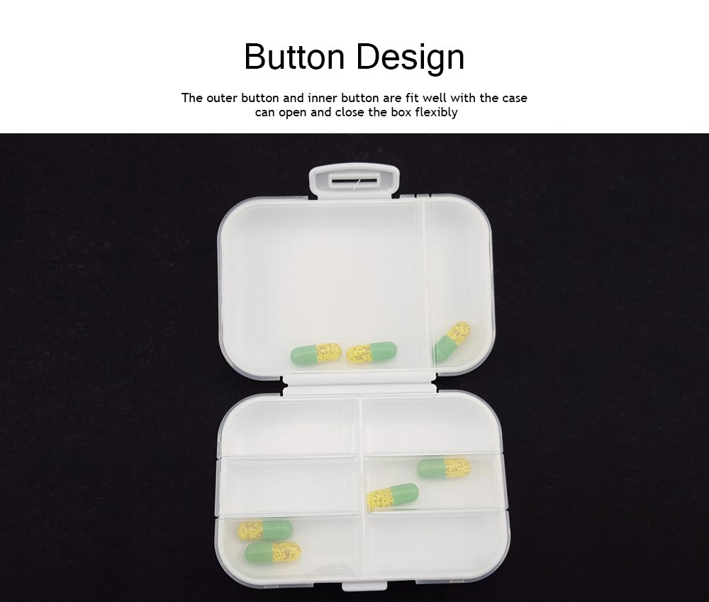 Dustproof Medicines Storage Boxes with Cross Labels, Portable 8 Grids Weekly Tablets Pill Case 3