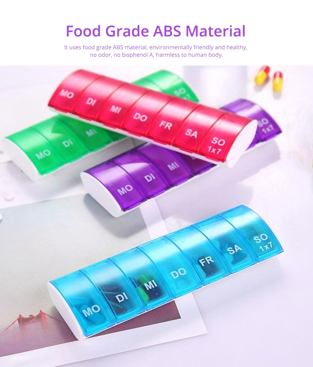 Mini Portable Pill Storage Kit, Rectangular Seven-cell, Plastic Storage Box for Capsule, Candy, Jewelry, Gadgets 14