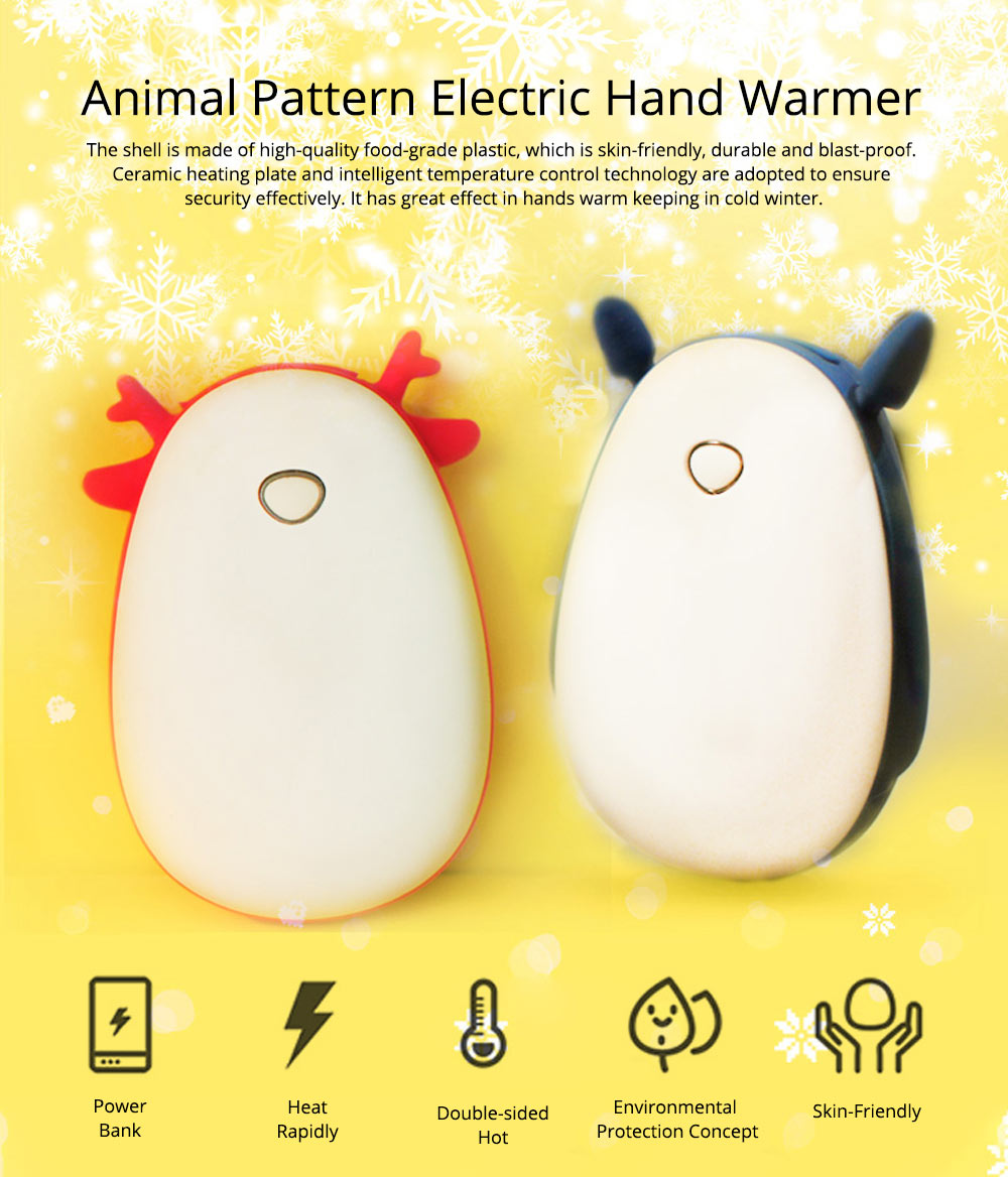 Mini Power Bank Hand Warmer, Creative Cute Animal Pattern Portable Pocket Heater, Large Capacity, USB Charger 8