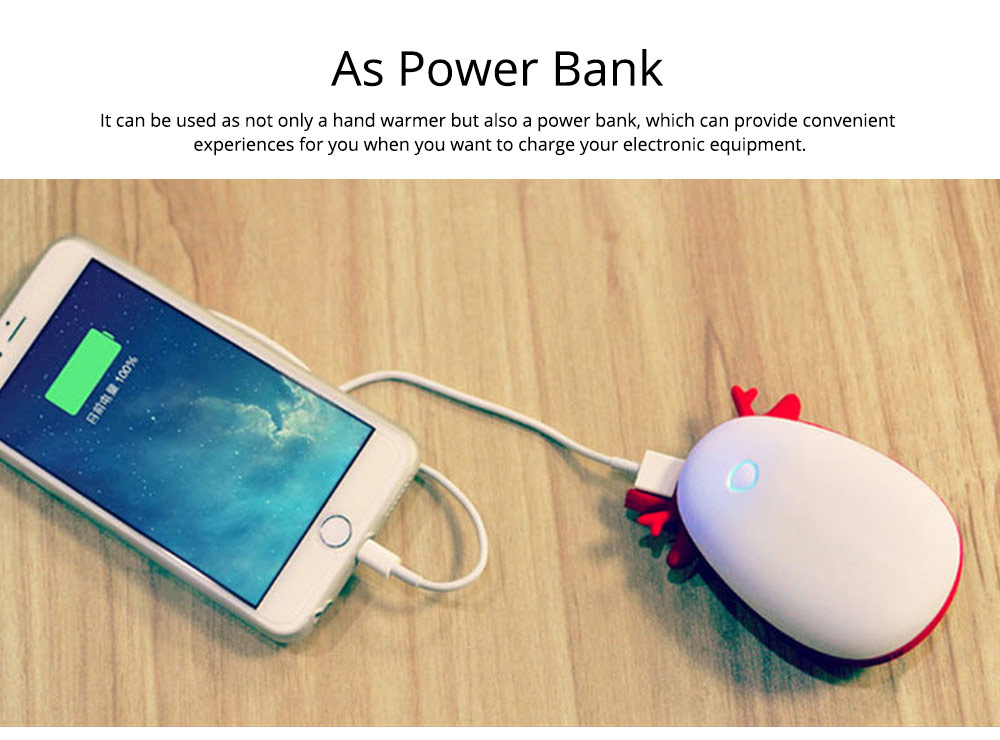 Mini Power Bank Hand Warmer, Creative Cute Animal Pattern Portable Pocket Heater, Large Capacity, USB Charger 12