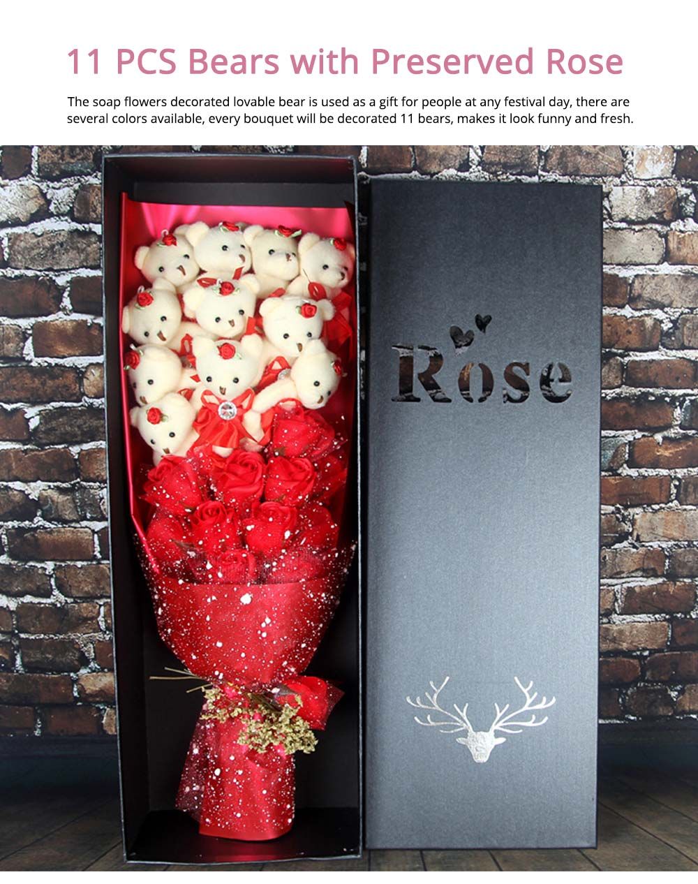 Valentine's Day Mother's Day Gift Imitation Roses 11 PCS Bears with Preserved Rose for Girls, Girlfriend, Teachers, Mommy 0