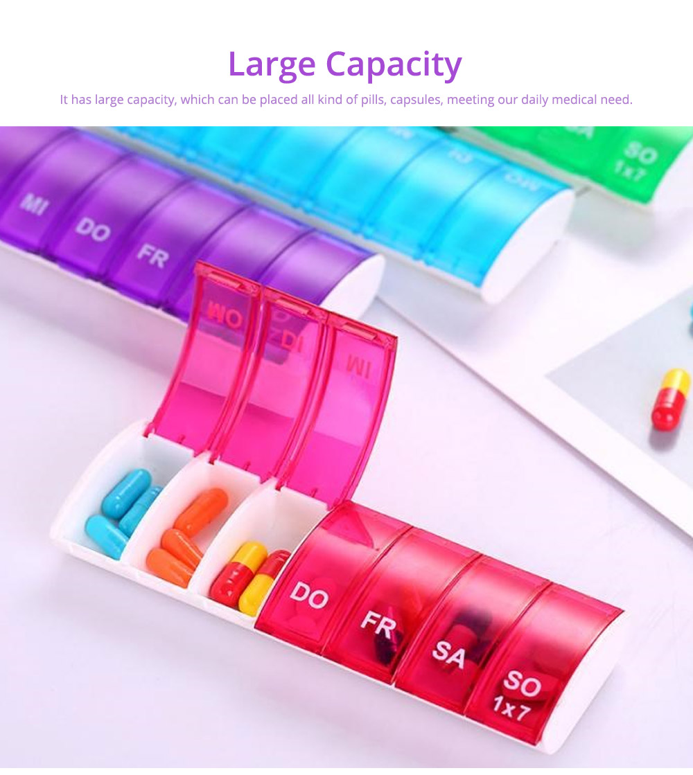 Mini Portable Pill Storage Kit, Rectangular Seven-cell, Plastic Storage Box for Capsule, Candy, Jewelry, Gadgets 17