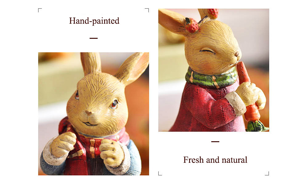 Resin Easter Hand-Painted Forest Bunny with Idyllic Home Style for Wine Ark & Windowsill, Decorative Centerpiece 4