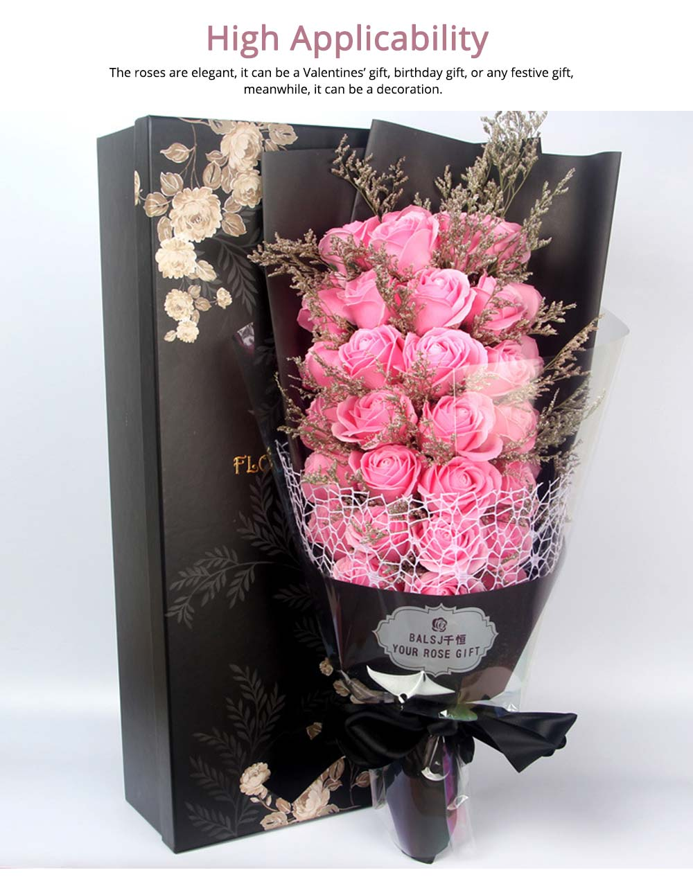 Preserved Fresh Rose with Dry Flower for Valentine's Day, Romantic Rose with Luxurious Gift Box for Girlfriend 3