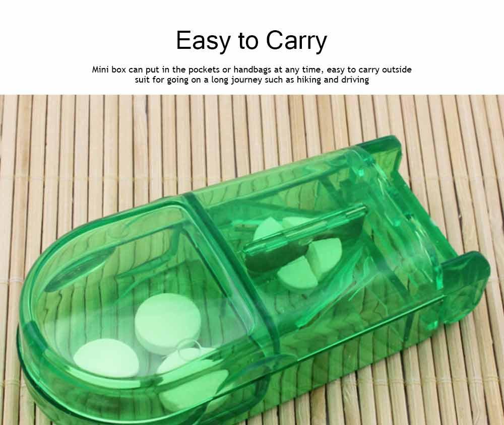 Tablet Cutter Splitter, Portable Translucent Pill Cutter Storage Box Medicine Pill Holder 11