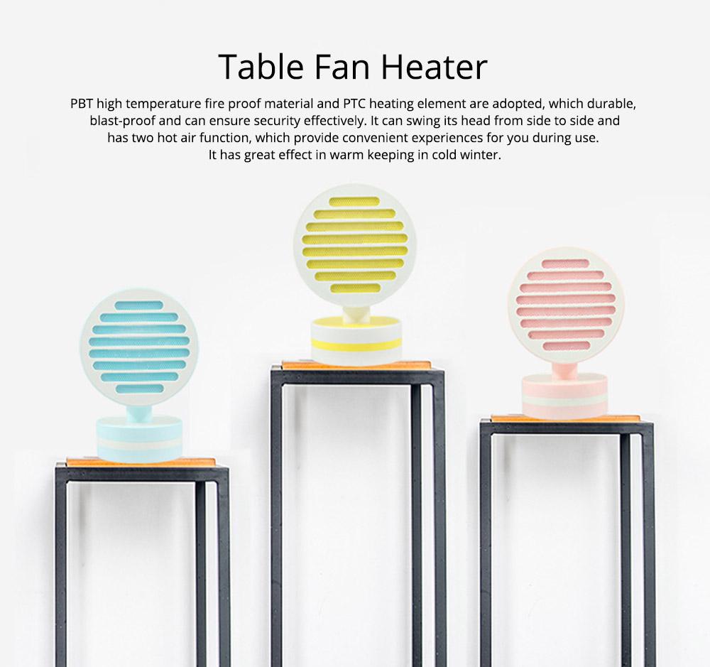 Mini Table Fan Heater, Potable Pivoting Warm Air Blower, Electric Energy-efficient Noiseless Heater Fans 0