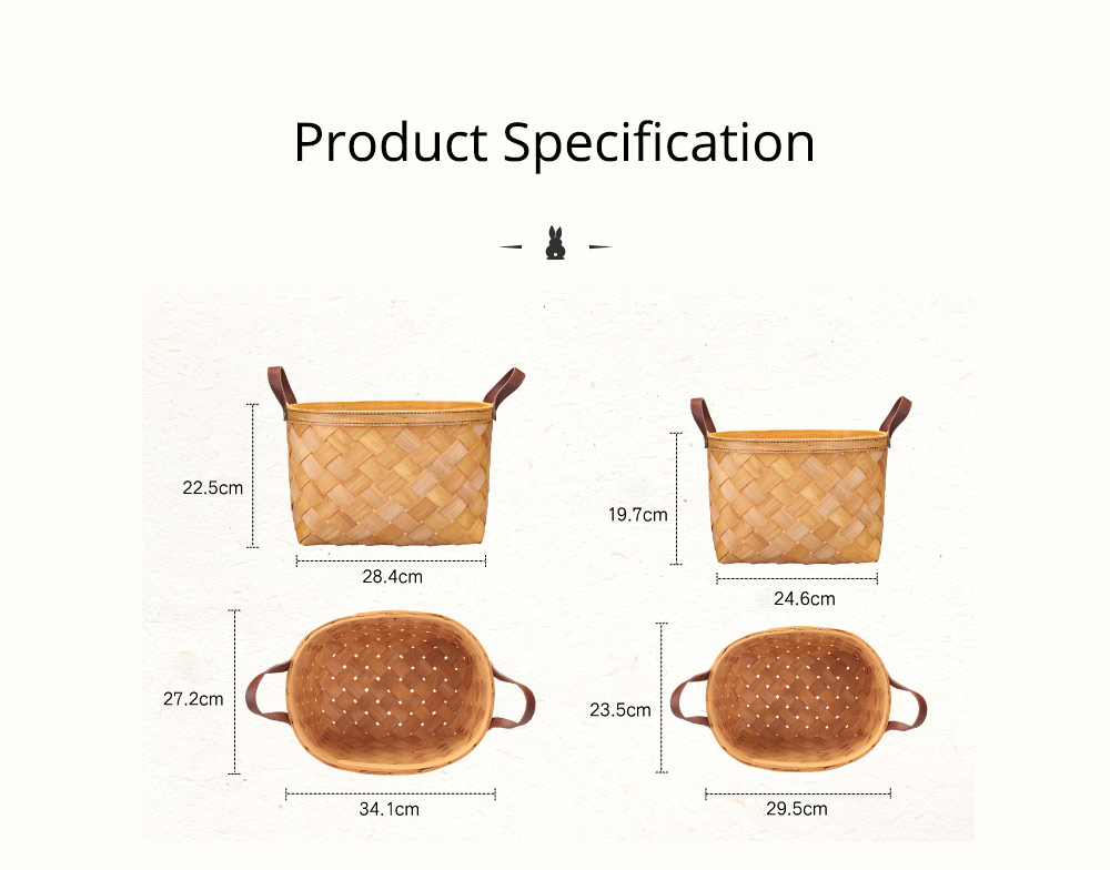 Woven Basket with Double PU Strap Handle, Large Capacity Storage Basket, Portable Picnic Basket 13
