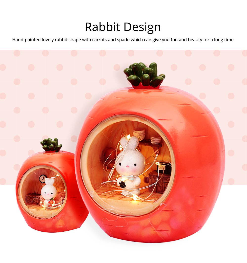 Easter Present Lovely Cartoon Bucolic Rabbit with Carrots Star Lamp, Night Light Bedside Lamp 4