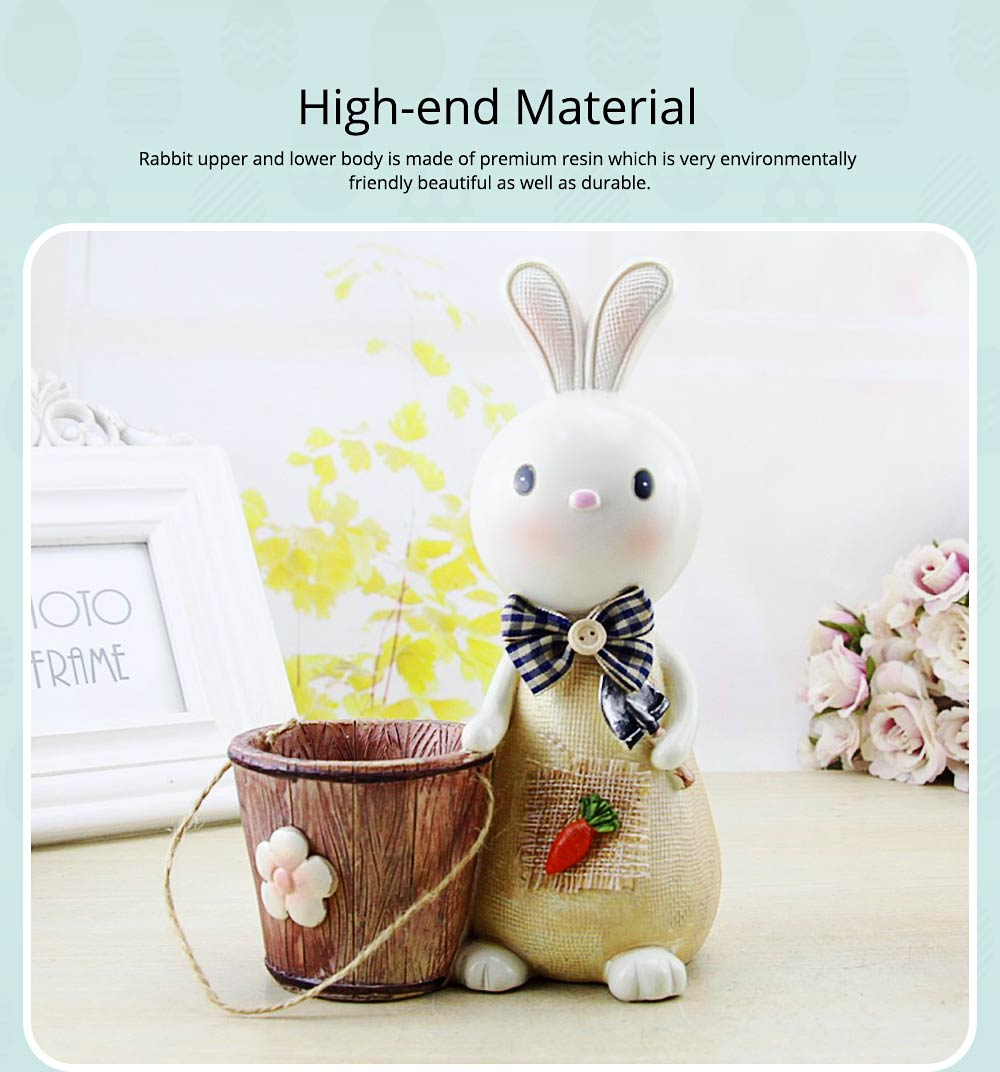 Rabbit Storage Drum for Brush Pot & Piggy Bank, Multi-functional Resin Easter Desktop Decorations 9