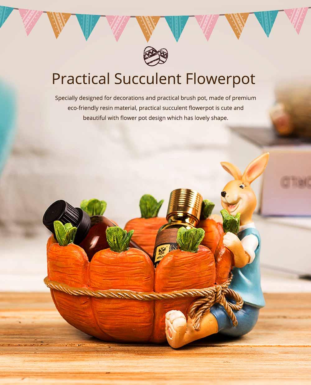 Succulent Flower pot, Lovely Cartoon Rabbit with Flower Pot Design for Birthday or Easter Present 0
