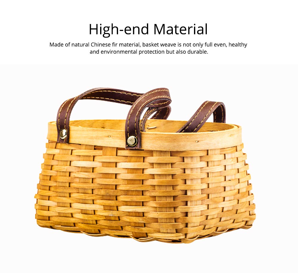 Hand-woven Wooden Picnic Basket with Double PU Hand Strap, Portable Clutter Basket for Storage 6