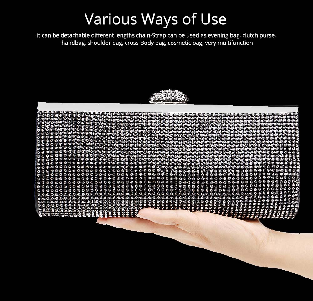 Diamond-encrusted Evening Bag, European and American Ladies Banquet Handbag, Polyester Dress Clutch 5