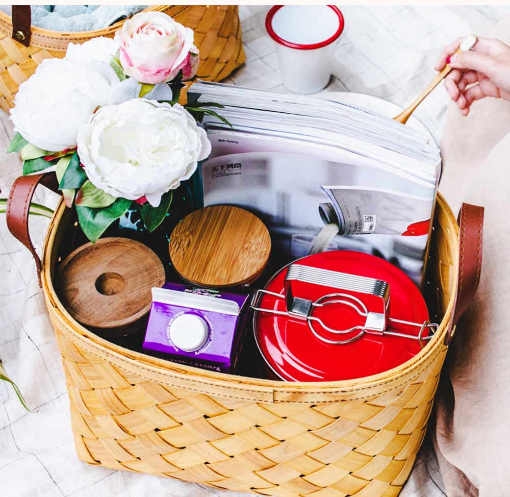 Woven Basket with Double PU Strap Handle, Large Capacity Storage Basket, Portable Picnic Basket 3