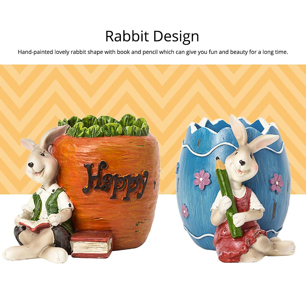Lovely Easter Pen Pot Pencil Container, Cartoon Bucolic Rabbit Brush Pot 3