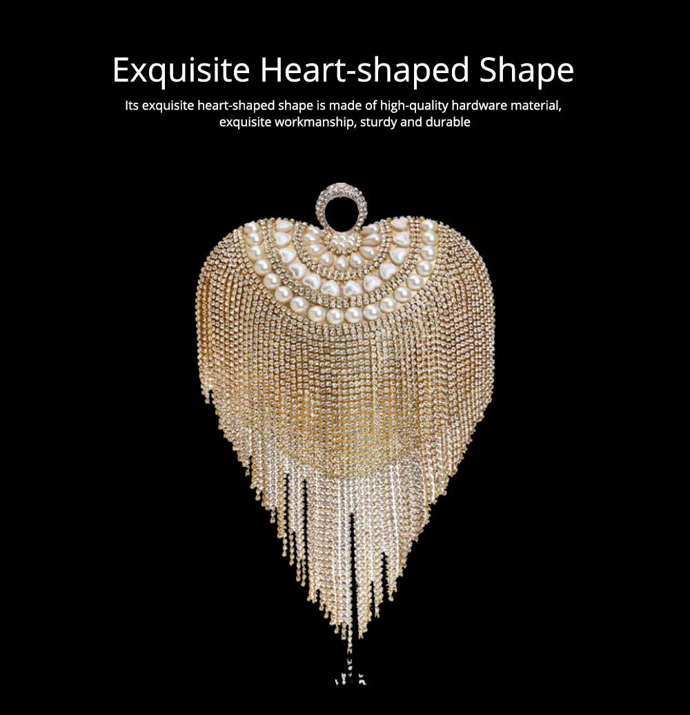 Tassel Evening Bag, Luxury Female Clutch, Mini Heart-shaped Polyester Dress Clutch 2019 10