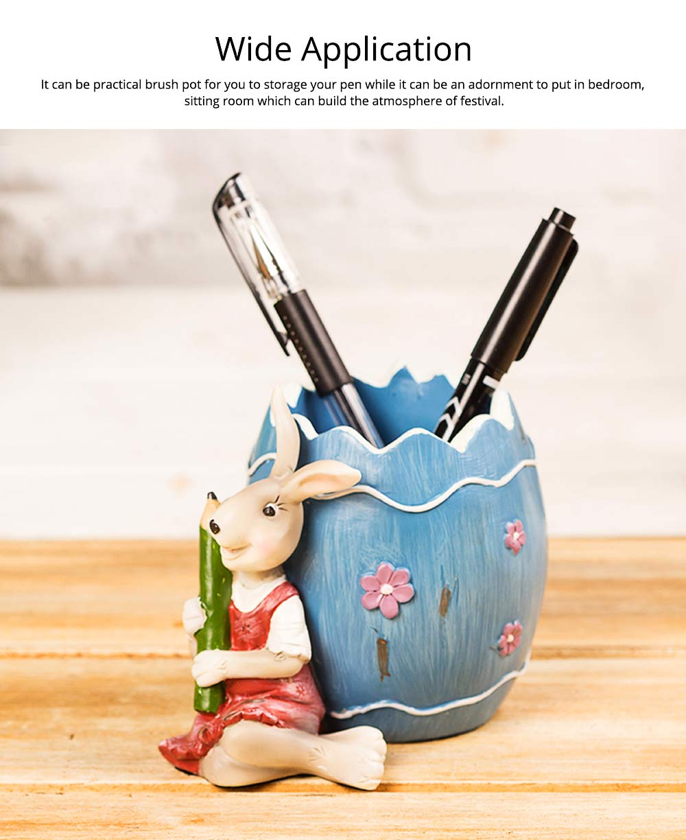 Lovely Easter Pen Pot Pencil Container, Cartoon Bucolic Rabbit Brush Pot 4