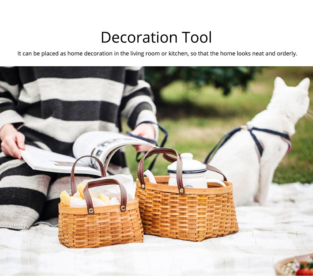 Hand-woven Wooden Picnic Basket with Double PU Hand Strap, Portable Clutter Basket for Storage 8