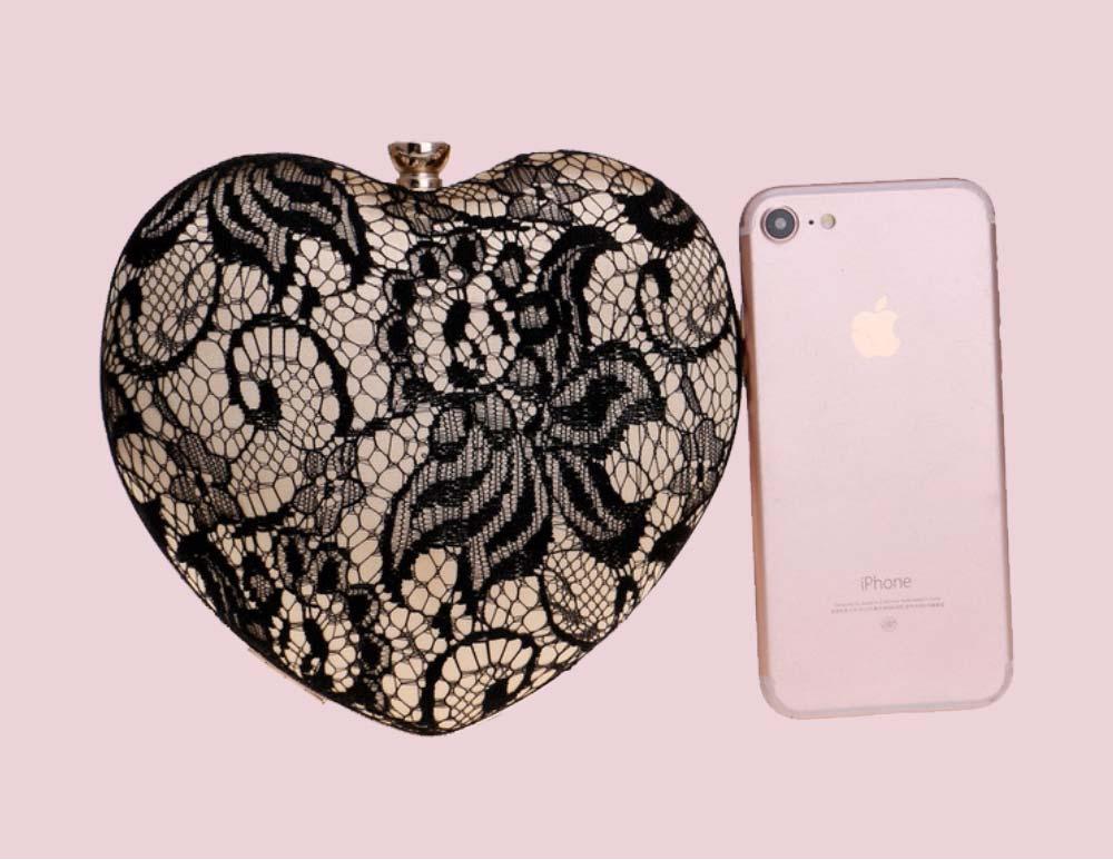 Peach Heart-shaped Handbag, Fashion Banquet Ladies Clutch, Imitation Silk Purse 2019 2