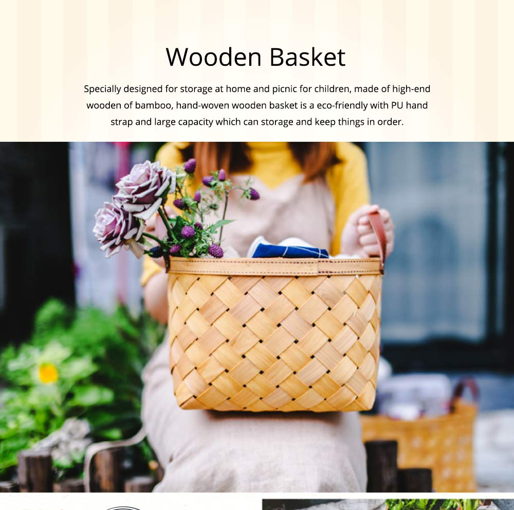 Woven Basket with Double PU Strap Handle, Large Capacity Storage Basket, Portable Picnic Basket 0
