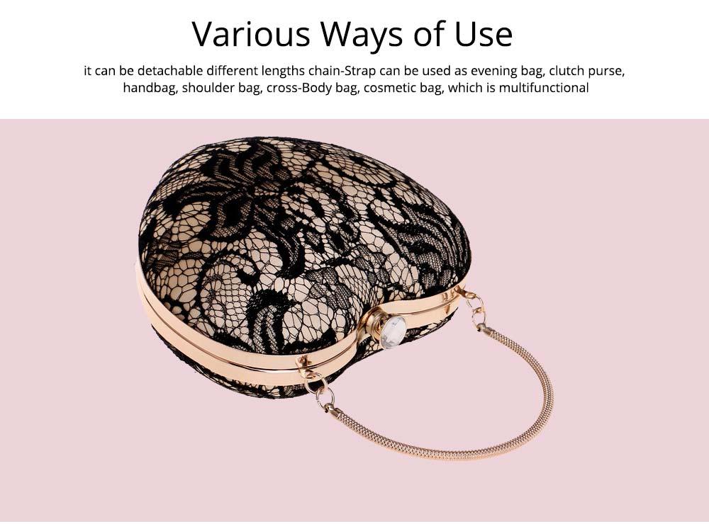 Peach Heart-shaped Handbag, Fashion Banquet Ladies Clutch, Imitation Silk Purse 2019 7