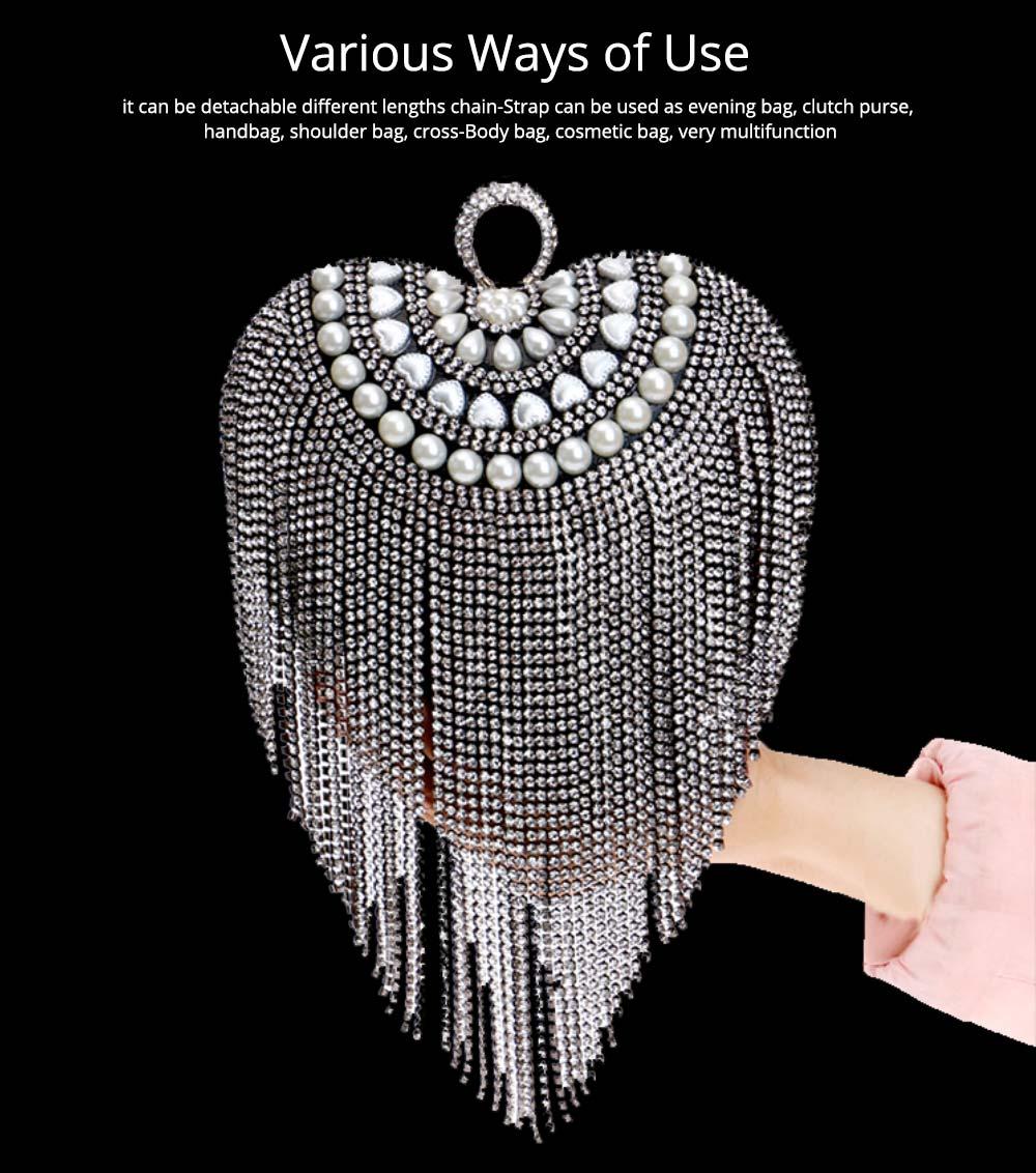 Tassel Evening Bag, Luxury Female Clutch, Mini Heart-shaped Polyester Dress Clutch 2019 13