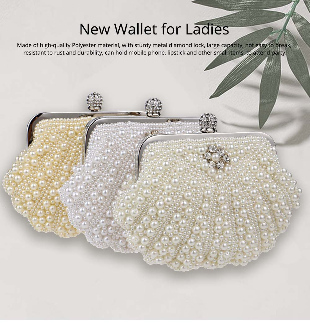 Beaded Pearl Dinner Bag, Women's Fashion Party Bag, High-quality Polyester Evening Dress Clutch 0
