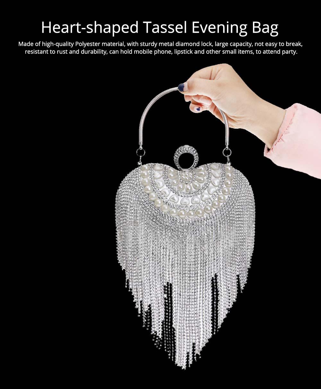 Tassel Evening Bag, Luxury Female Clutch, Mini Heart-shaped Polyester Dress Clutch 2019 7