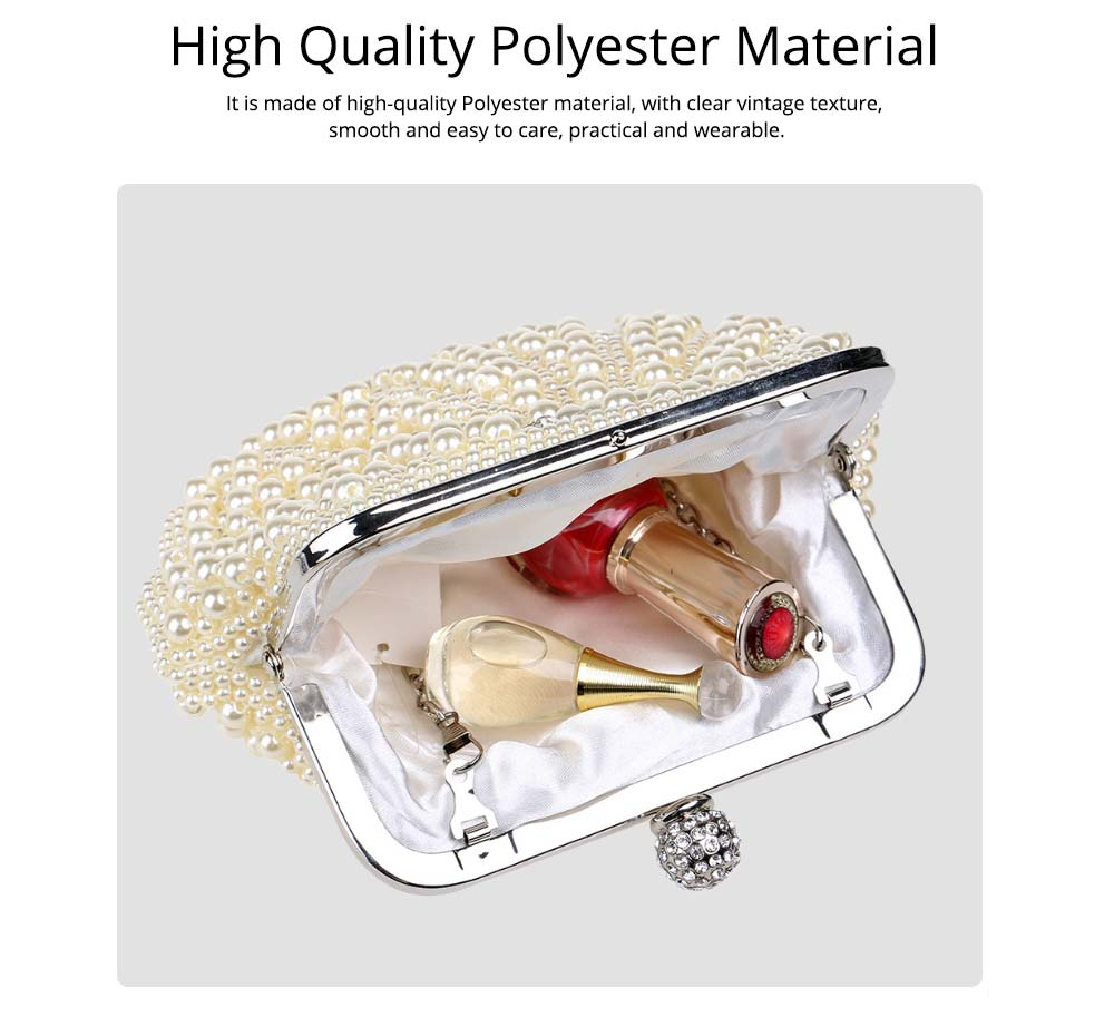 Beaded Pearl Dinner Bag, Women's Fashion Party Bag, High-quality Polyester Evening Dress Clutch 1