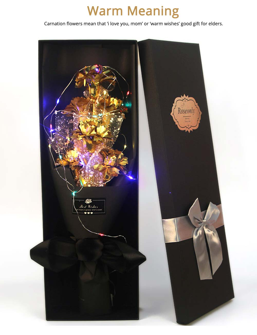 Golden Foil Carnation Flower for Mothers' Day, Teachers' Day, Gold Foil Flower with Flashing Light 2