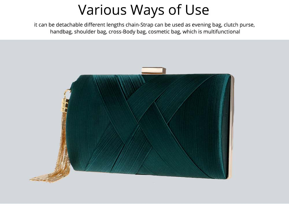 Fringe Party Bag, Female European and American Silk Party Evening Bag, Luxurious Imitation Silk Dress Clutch 14