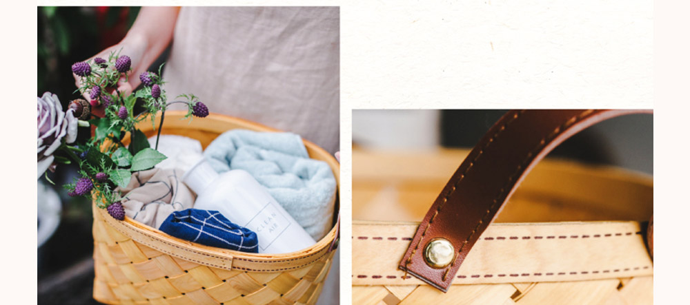 Woven Basket with Double PU Strap Handle, Large Capacity Storage Basket, Portable Picnic Basket 7