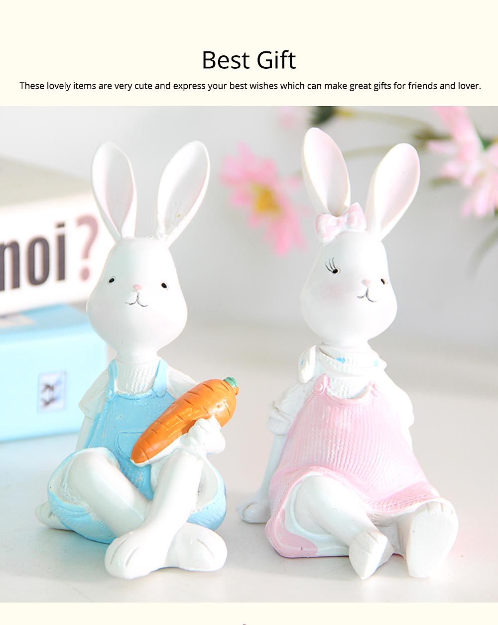 Cartoon Girl Bunny for Birthday Gift and Decoration, Seating and Standing Rabbits Easter Present 6