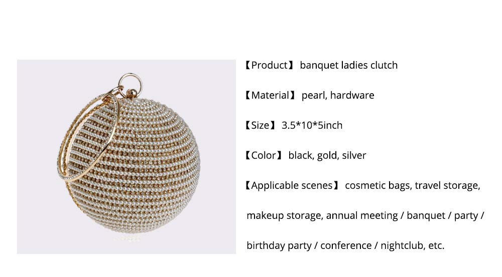 Fashion Pearl Ball Tote Handbag, European Beauty Party Bag, High-quality Polyester Party Evening Bag 9