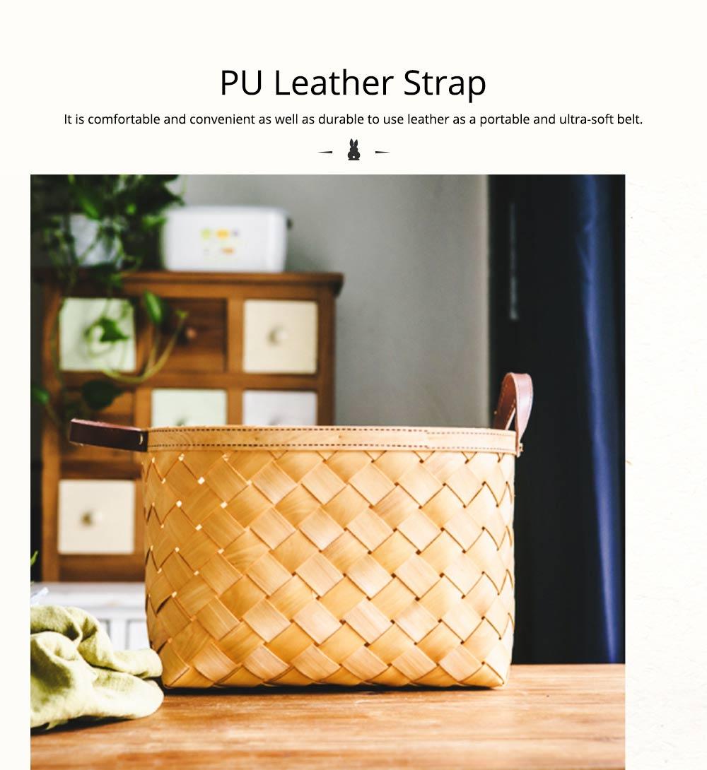 Woven Basket with Double PU Strap Handle, Large Capacity Storage Basket, Portable Picnic Basket 4