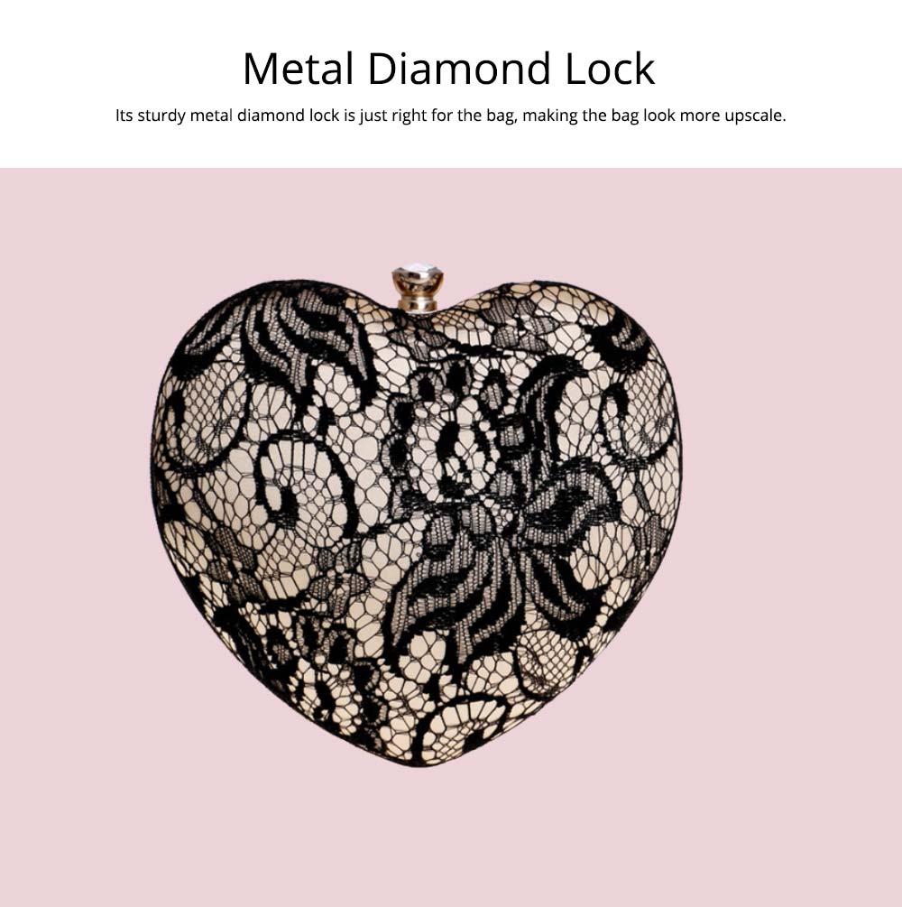 Peach Heart-shaped Handbag, Fashion Banquet Ladies Clutch, Imitation Silk Purse 2019 4