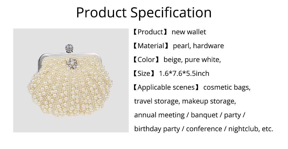 Beaded Pearl Dinner Bag, Women's Fashion Party Bag, High-quality Polyester Evening Dress Clutch 8
