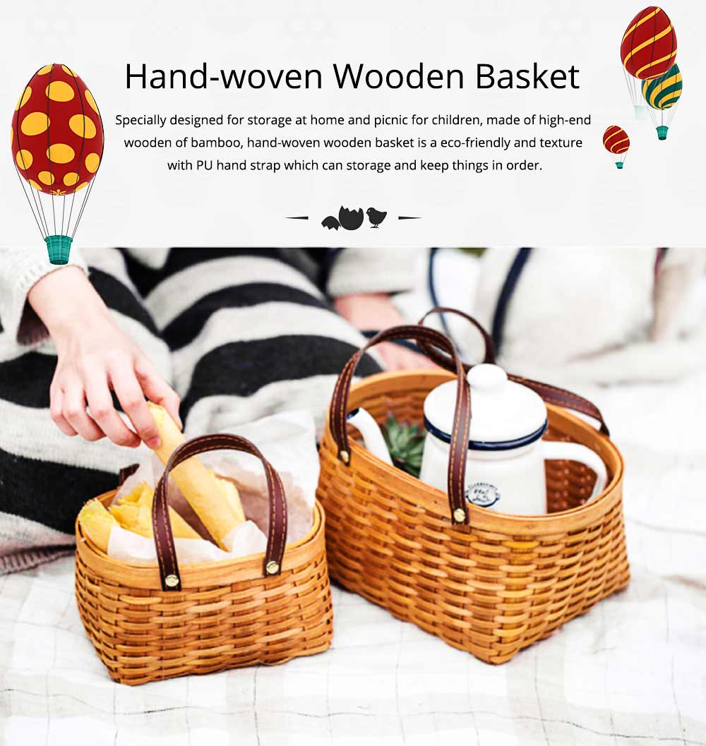 Hand-woven Wooden Picnic Basket with Double PU Hand Strap, Portable Clutter Basket for Storage 0