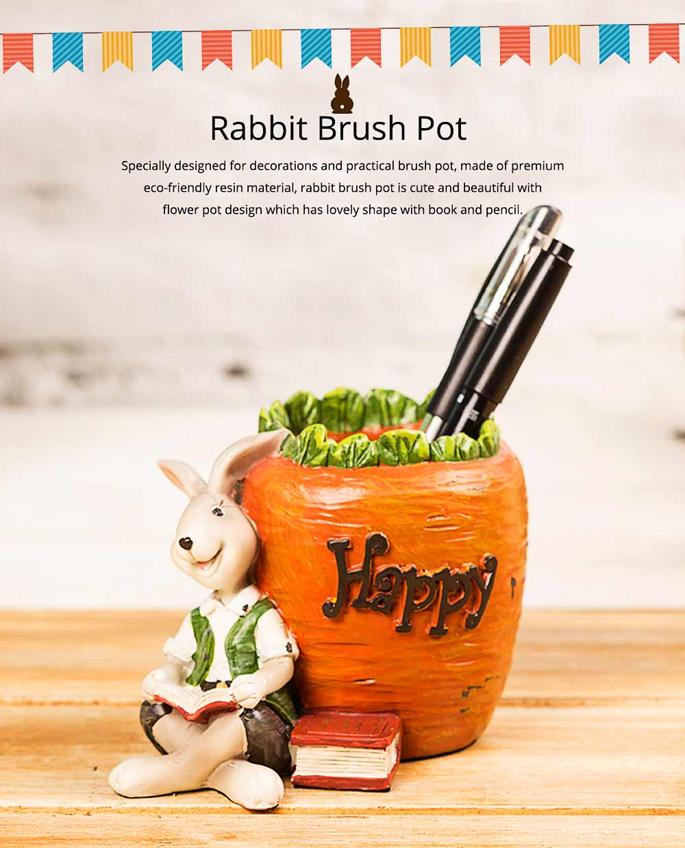 Lovely Easter Pen Pot Pencil Container, Cartoon Bucolic Rabbit Brush Pot 0