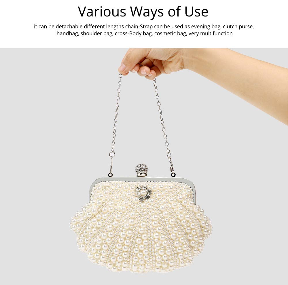 Beaded Pearl Dinner Bag, Women's Fashion Party Bag, High-quality Polyester Evening Dress Clutch 6